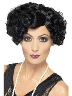 Short Black Curly Wig, 20's Flirty Flapper Wig, 1920's Fancy Dress Accessory
