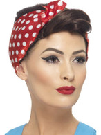 Short Brown Wavy Wig, 40's Rosie Wig With Polkadot Headscarf, Fancy Dress