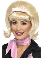 Short Blonde Beehive Wig, 50's Flicked Bob Wig, Fancy Dress Accessory