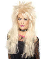 Long Blonde Frizzy Wig, 80's Mullet Wig Adult Fancy Dress Accessory