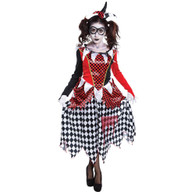 HARLEQUIN GIRL SCARY, HALLOWEEN FANCY DRESS COSTUME, UK SIZE 10-14