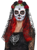 Day of the Dead Senorita Mask, Full Face, Halloween Fancy Dress, RED & BLACK