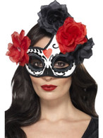 Day of the Dead Crescent Eyemask, Cosmetics and Disguises, BLACK & RED