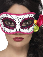 Day of the Dead Eyemask, Cosmetics and Disguises, WHITE/PINK