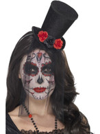 Day of the Dead Mini Top Hat, Halloween Fancy Dress, BLACK