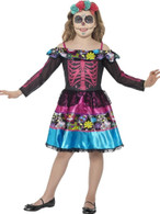 Day of the Dead Sweetheart Costume Medium Age 7-9 Halloween Fancy Dress