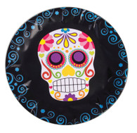 Day of the Dead Round Paper Plates, Halloween Party/Catering Supplies