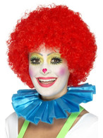 Blue Clown Neck Ruffle, Funnyside Fancy Dress. One Size