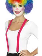 Pink Clown Braces, Funnyside Fancy Dress. One Size