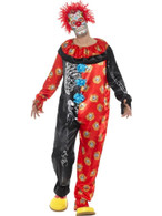 Deluxe Day of the Dead Clown Costume,Mexican/Sugar Skulls,Medium