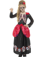 Deluxe Day of the Dead Girl Costume,Halloween  Fancy Dress,Medium Age 7-9