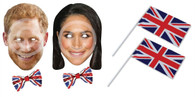 Prince Harry & Meghan Markle Card Masks, 2 Union Jack Sequin Bow Ties, 2 Handwaving Flags