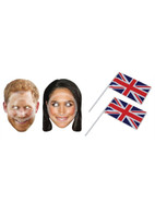 Prince Harry & Meghan Markle Card Masks & 2 Union Jack Hand Waving Flags
