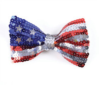 Stars and Stripes Sequin Bow Tie USA
