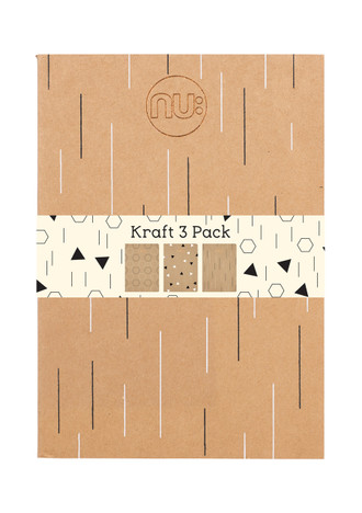 Nu: Kraft Deco A4 Stitched Spine - Pack of 3