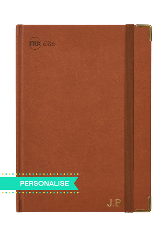 Nu Elite Prestige Tan PU Casebound Journal - A4