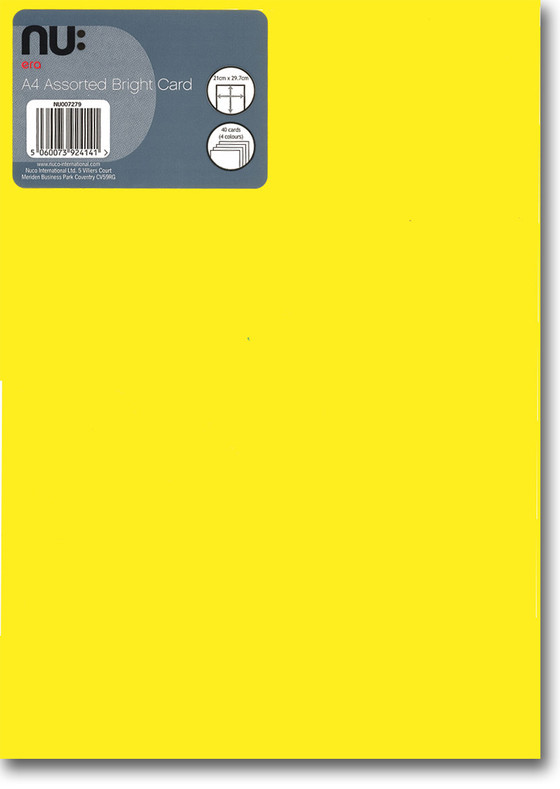 A4 Assorted Bright Card - Front
