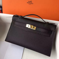 Dispatch record: Hermes Black Epsom Leather Mini Kelly Pochette with Golden Hardware