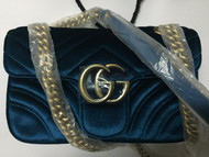 Dispatch record: Gucci AW 2016 GG Marmont velvet shoulder bag blue rubin chevron velvet