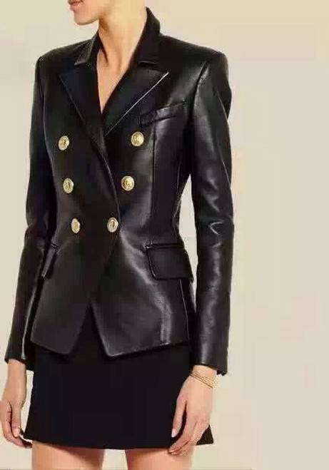 BALMAIN Black Leather Coat