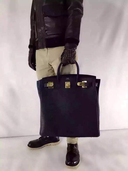 Hermes Black Haut a Courroies Bag 40cm Togo Gold Hardware
