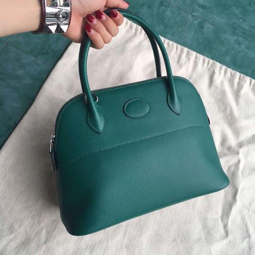 Hermes  Z6 Malachite Green Bolide 27cm Bag Epsom Leather
