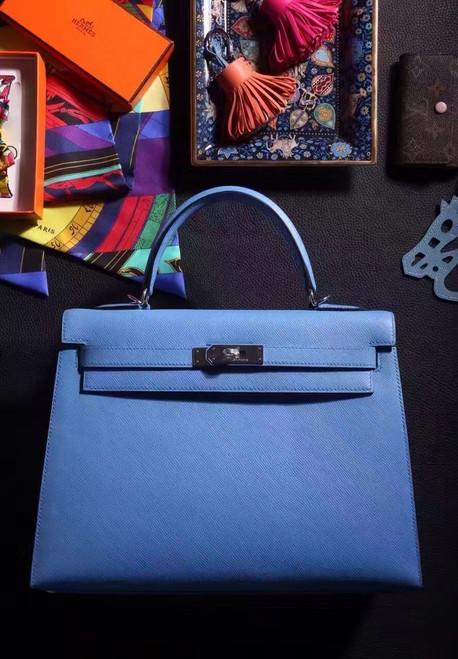 Hermes Blue Jean Kelly 28 cm Epsom Palladium Hardware