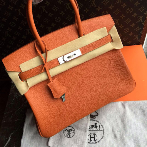 Hermes Orange Birkin Bag 30cm Palladium Hardware