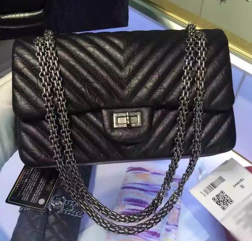 Chanel Black V Quilted Aged Calf Chevron Flap Bag with Silver Hardware Black