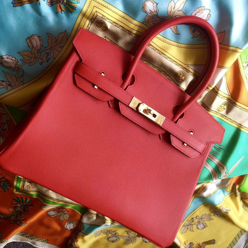 Hermes Rouge Vif Red Birkin Bag 35cm Epsom Gold Hardware