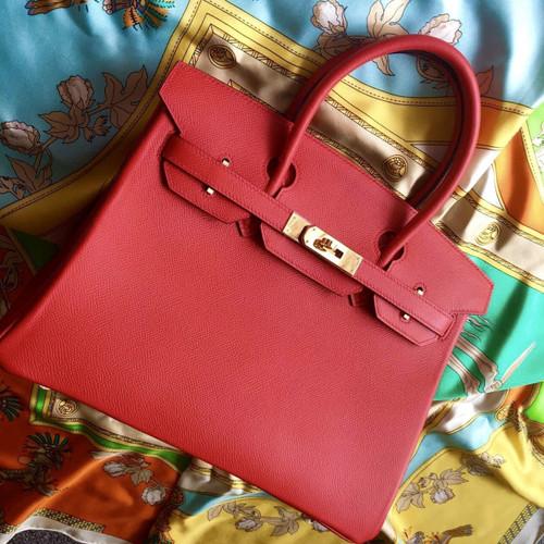 Hermes Rouge Vif Red Birkin Bag 35cm Epsom Gold Hardware