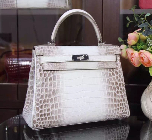 Hermes Kelly Bag 32cm Matte Himalaya Nilo Crocodile Retourne with Palladium Hardware