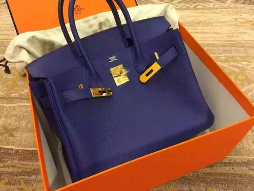 Hermes Blue Saphir Birkin 35cm Togo Leather Gold Hardware