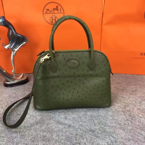 Hermes Vert Anis Bolide 27cm Bag Ostrich Leather