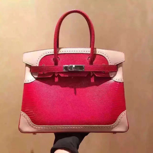 Hermes Limited Edition Rouge Vif Rose Dragee Ghillie Kelly 32cm Lizard Palladium Hardware