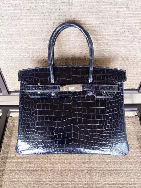 Hermes 7k Blue Saphir Birkin 30 in Niloticus Crocodile with Palladium hardware