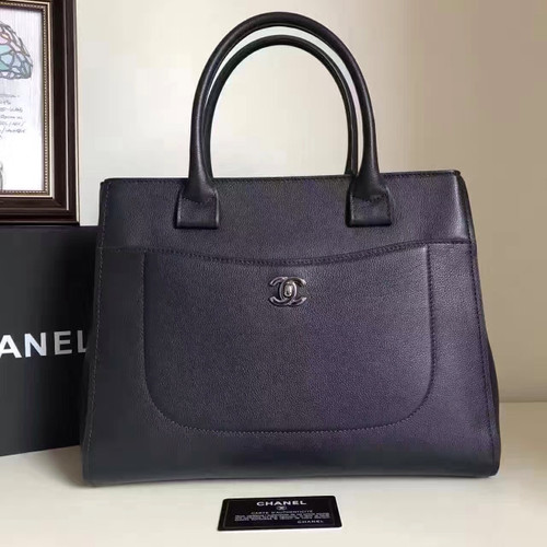 Chanel Large Shopping Bag, Grained Calfskin and Silver metal  Dark Blue 43 cm Spring 2017 collection