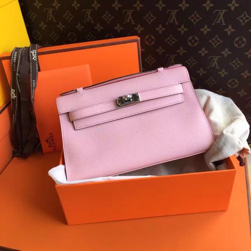 Hermès P1 Sakura Pink Mini Kelly Pochette Epsom Leather Palladium Hardware