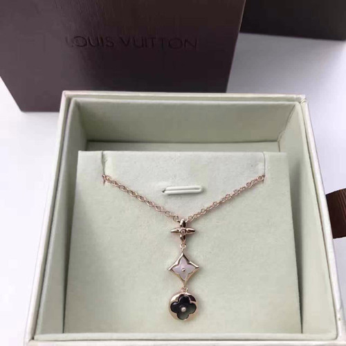 Louis Vuitton COLOR BLOSSOM LARIAT NECKLACE, PINK GOLD, WHITE MOTHER-OF PEARL, GREY MOTHER-OF-PEARL AND DIAMOND Q94263