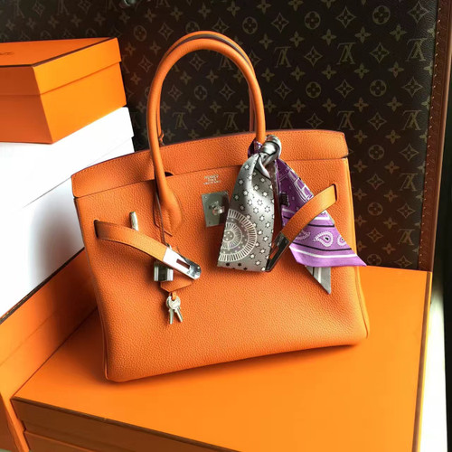Hermes Orange Birkin Bag 25cm Palladium Hardware