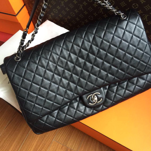 CHANEL 2016 NEW Black Leather Quilted XL Flap Bag