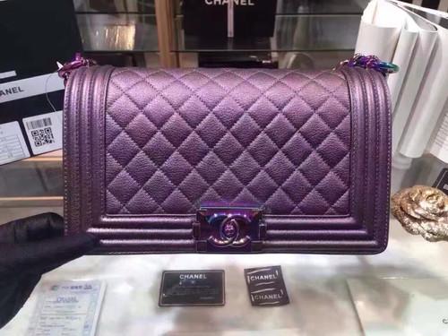 CHANEL Medium Purple Iridescent Rainbow Boy Flap Bag Cruise 2016 Seoul Collection A67085