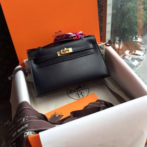 Hermès Black Mini Kelly Pochette Box Calf Leather Gold Hardware