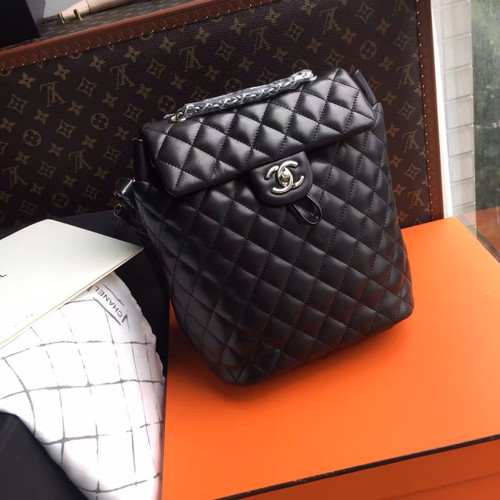 CHANEL Black Lambskin BACKPACK A91122