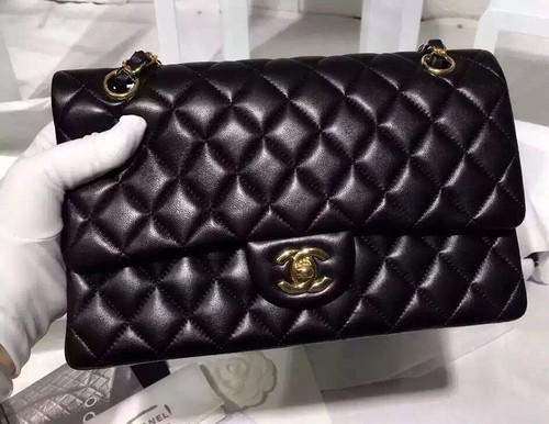 CHANEL 2016 Classic Flap Bag Black Lambskin Medium A01112 Silver HW