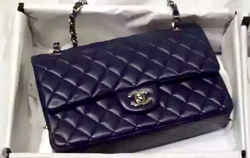 CHANEL 2016 Classic Flap Bag Dark Blue Lambskin Medium A01112 Golden HW