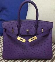 Hermes Violet Birkin 30cm KK Ostrich Leather Gold Hardware