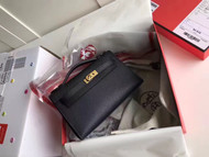 Hermes Black Epsom Leather Mini Kelly Pochette with Golden Hardware