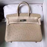 Hermes 3C Wool White Birkin Bag 25cm KK Ostrich Leather Palladium Hardware