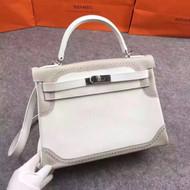 Hermes Limited Edition Blanc & Gris Perle Ghillie Kelly 32cm Swift Palladium Hardware